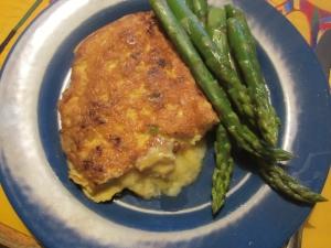 wild leek omlette with fresh asparagus