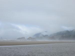mist hanging on the hills