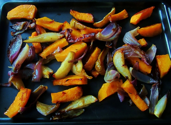 caremlized pear, butternut squash and red onion