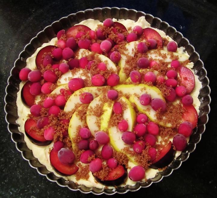 cranberry, pear and plum pressed-crust tart