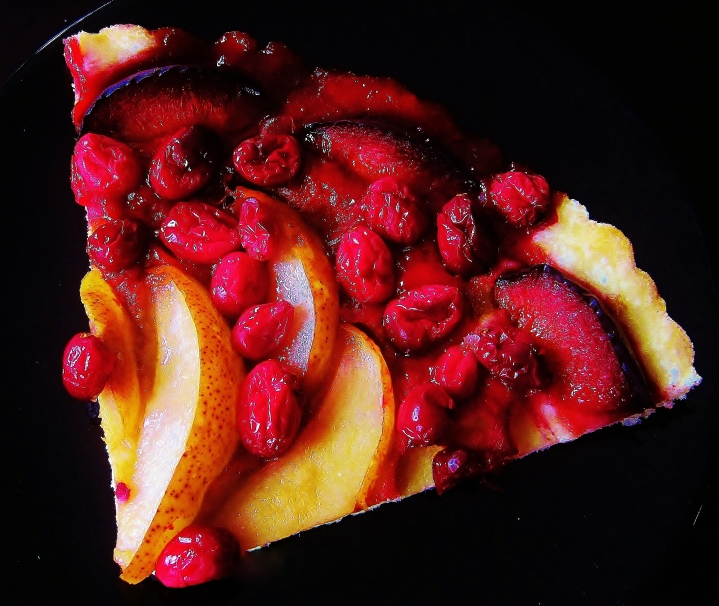 cranberry, pear, plum pressed-crust tart