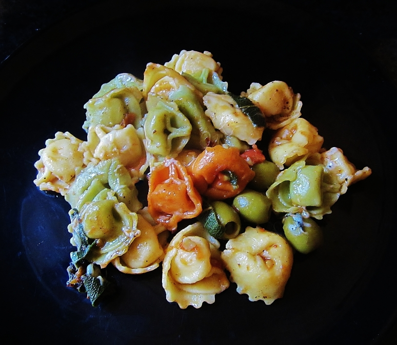 three cheese tortellini in brown butter sage sauce