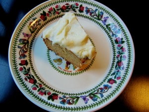 honey cake with lime cream cheese icing