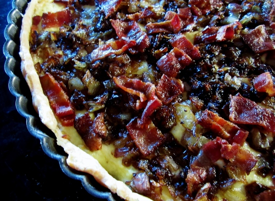 cheddar, bacon and caramelized onion tart