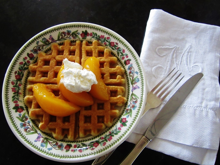 whole wheat waffles with peach maple compote 2