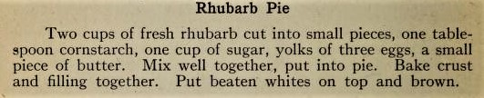 rhubarb custard pie Toronto Cook Book, 1915